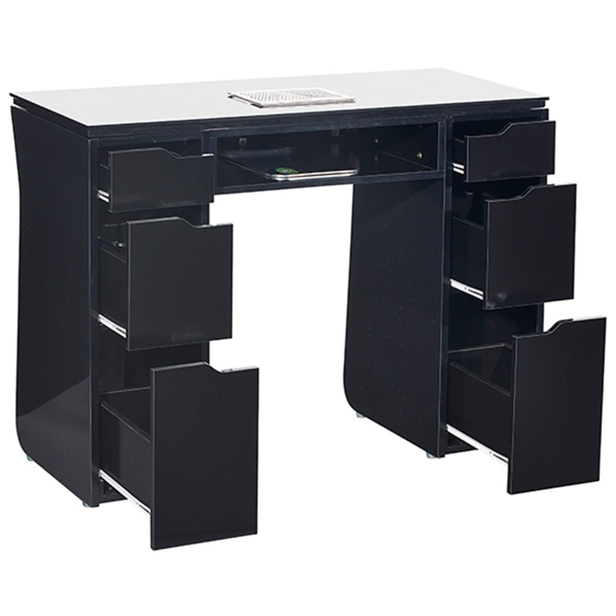 VICKI Manicure Nail Table - Black - Drawers Open