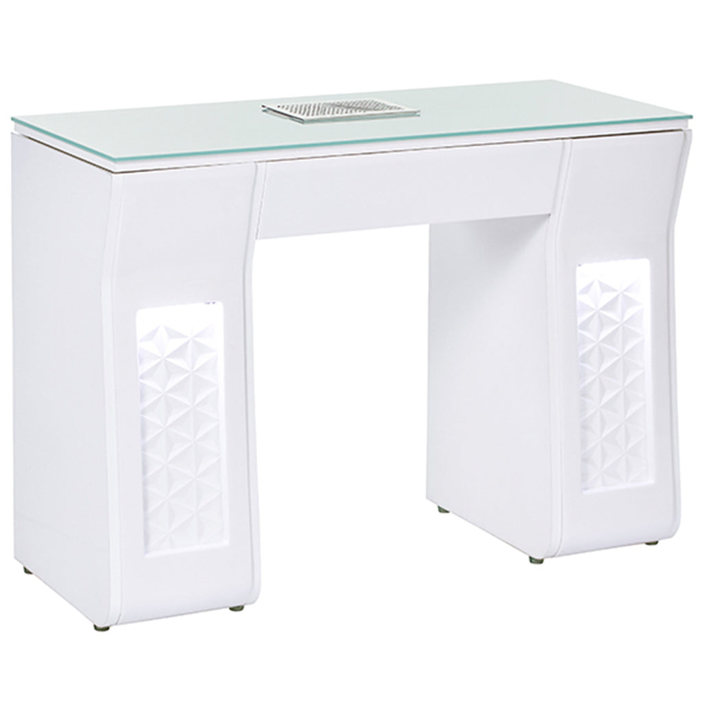 VICKI Manicure Nail Table - White - Client Side Lit