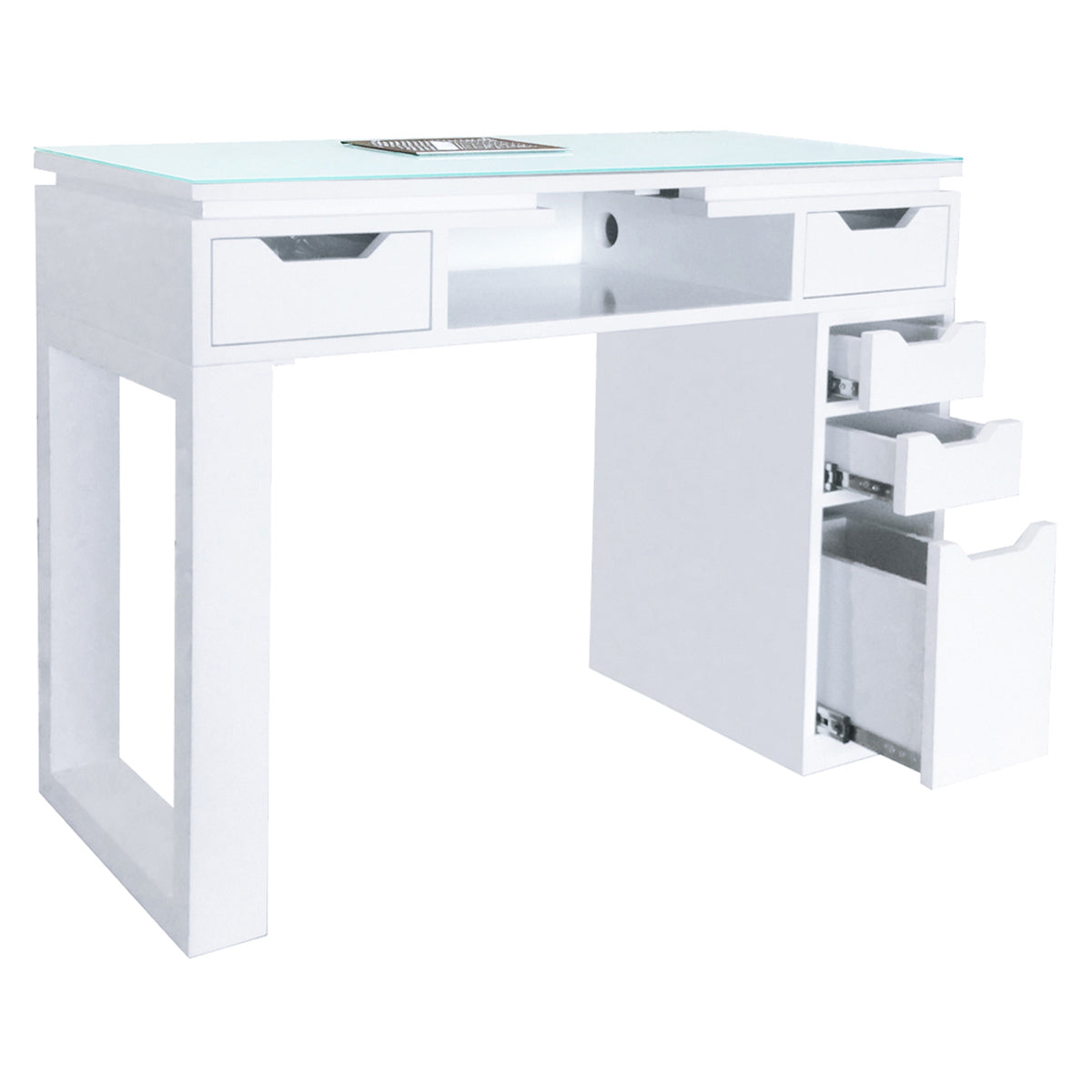 Valentino LUX Manicure Nail Table - White - Drawers Open