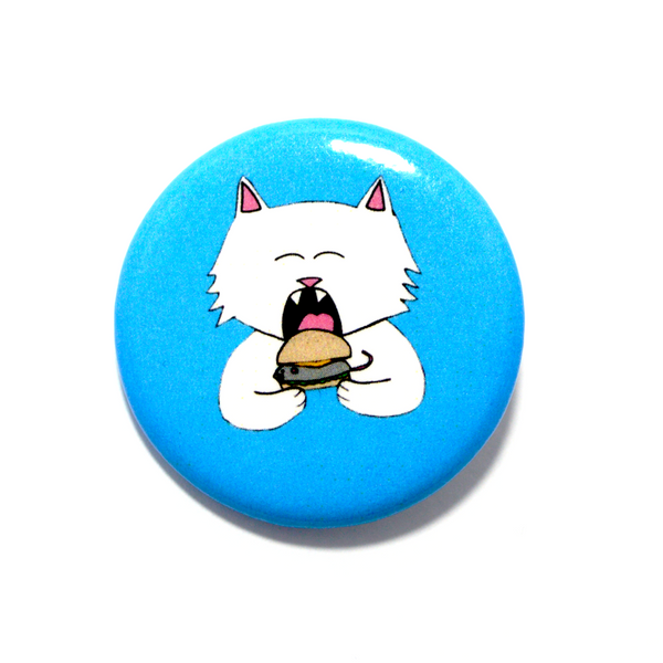 Cat Burger  Pinback Button - 3 W cats