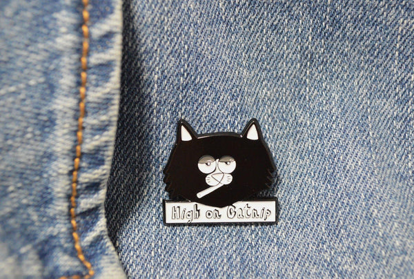 Catnip Enamel Pin - 3 W cats