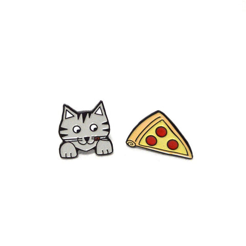 Cat Pizza earrings - 3 W cats