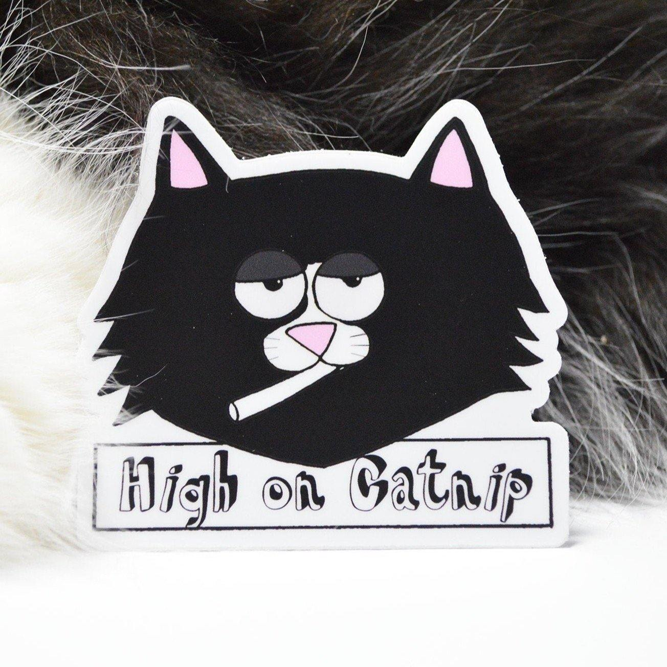 High on Catnip Sticker - 3 W cats
