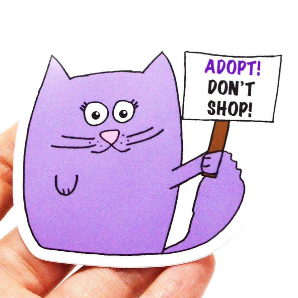 Adopt Don't Shop vinyl sticker - 3 W cats