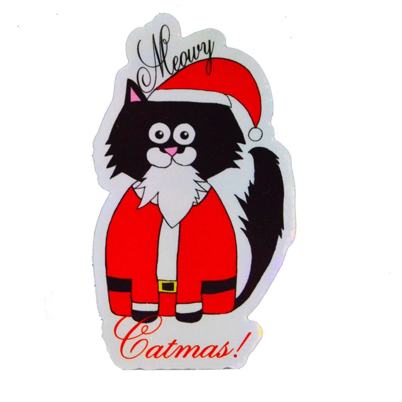Santa Claws Holographic Sticker - 3 W cats