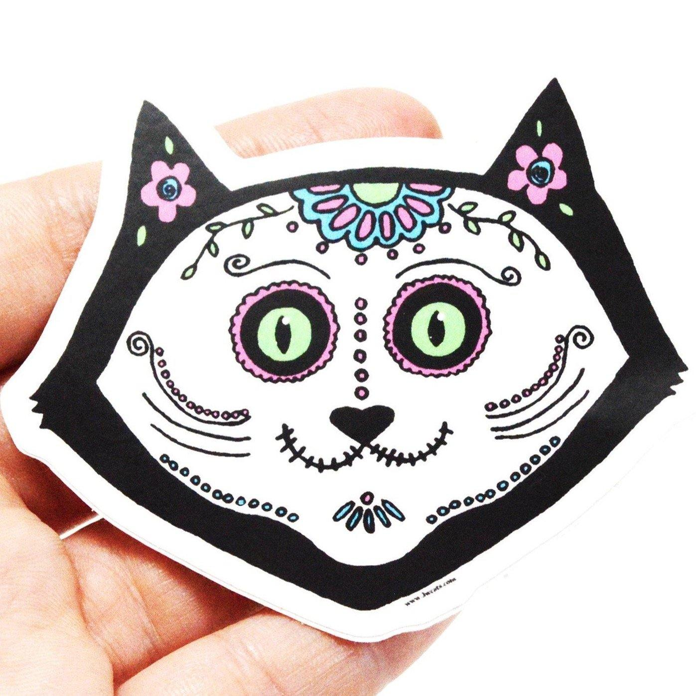 Cat Skull Vinyl Sticker - 3 W cats