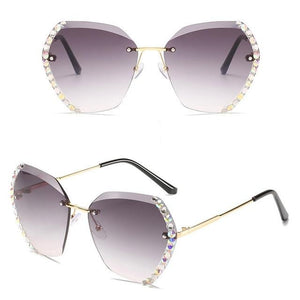 Diamond Rimless Gradient Sunglasses
