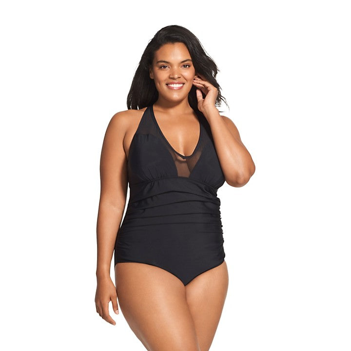Speedo Mesh V-Neck One Piece