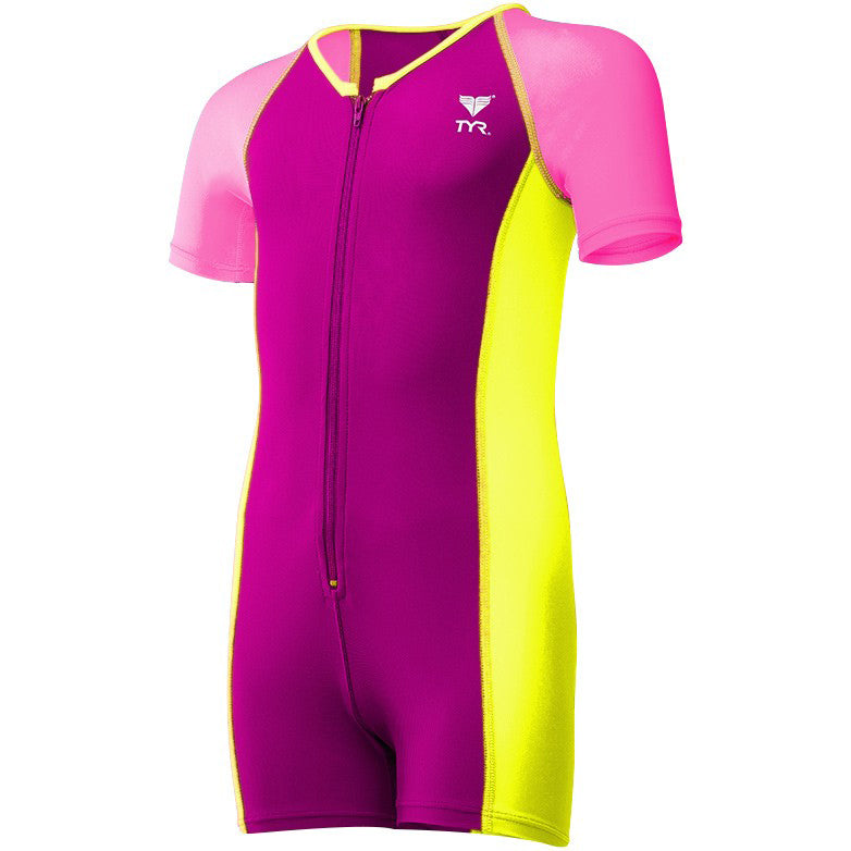 TYR Girls Solid Thermal Suit- Pink/Yellow