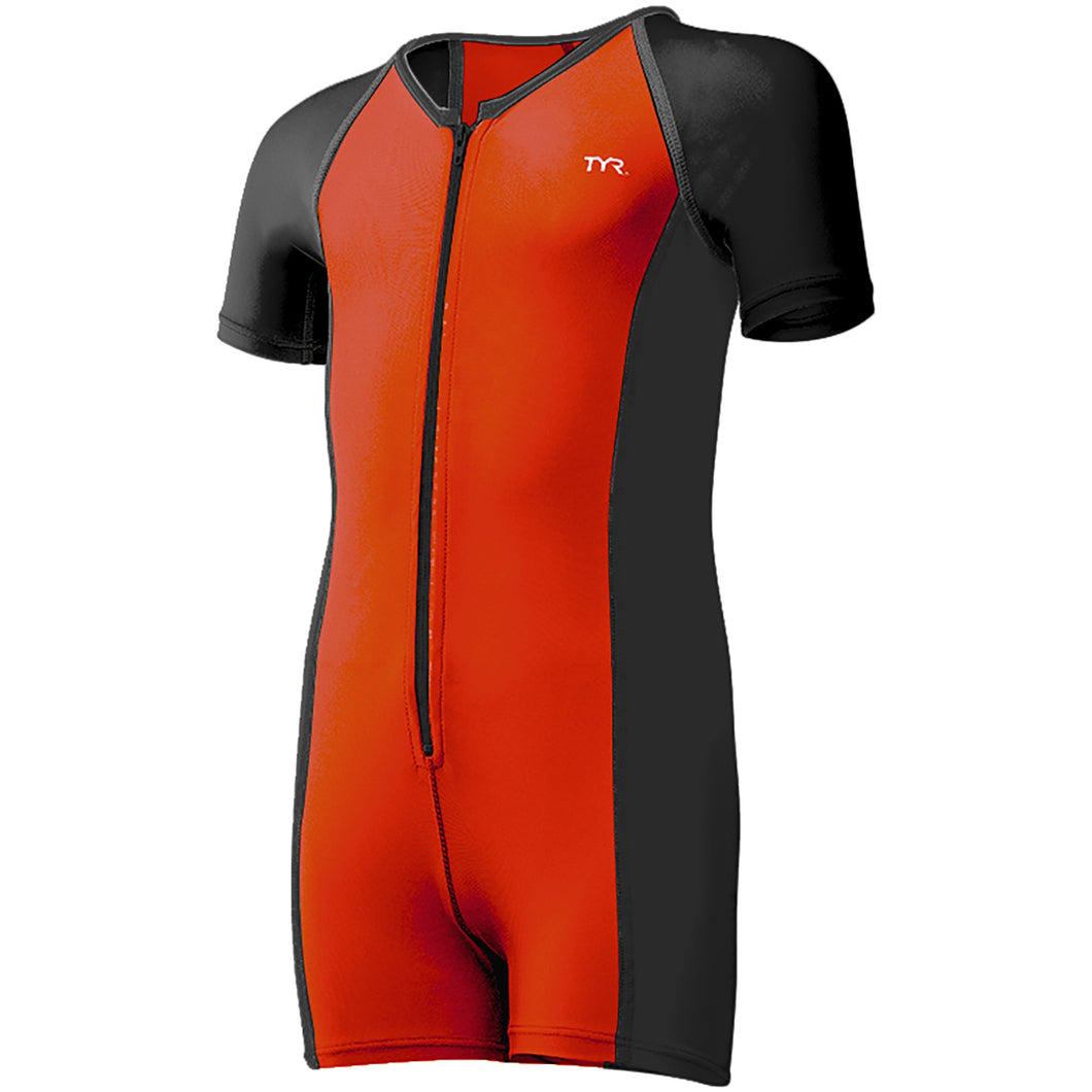 TYR Boys Solid Thermal Suit- Black/Burnt Orange