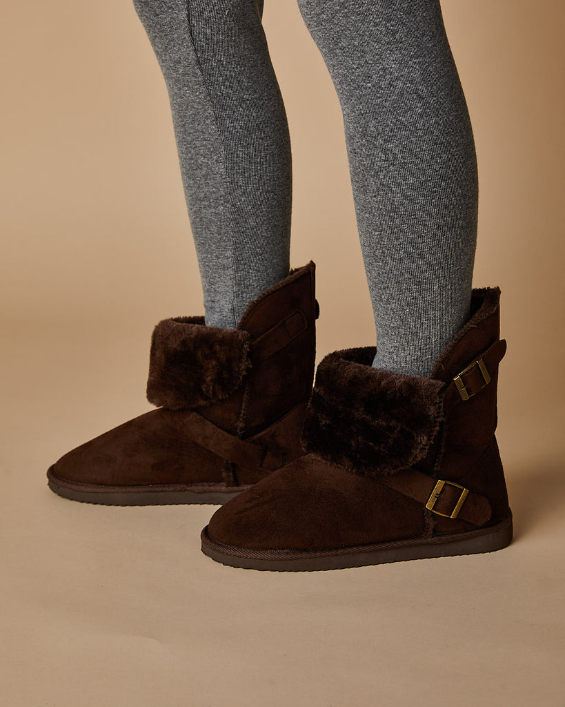 Buckle Boot With Fur Trim