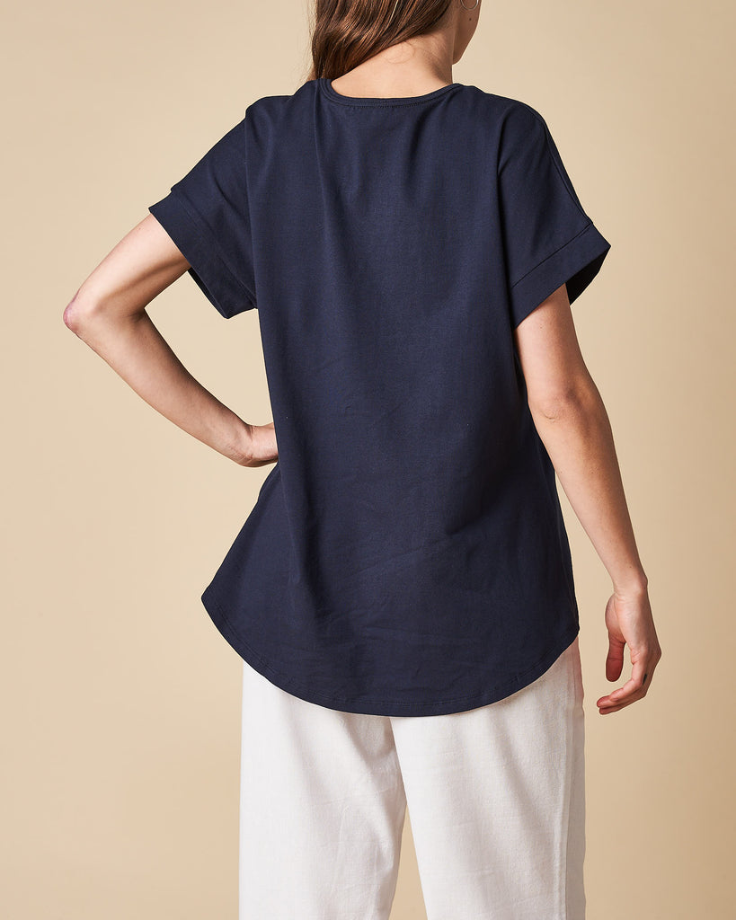 Neck Low Sleeve Trim Tee