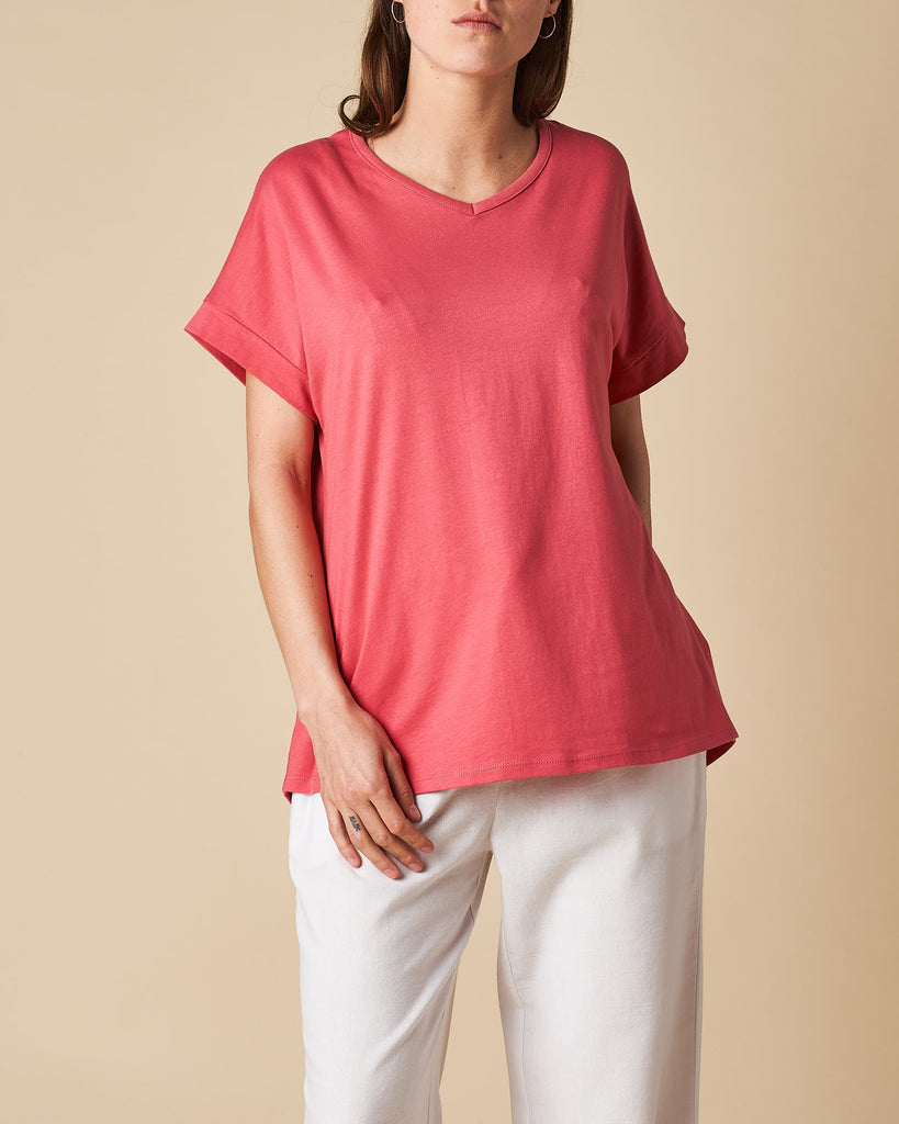 V-Neck Low Sleeve Trim Tee