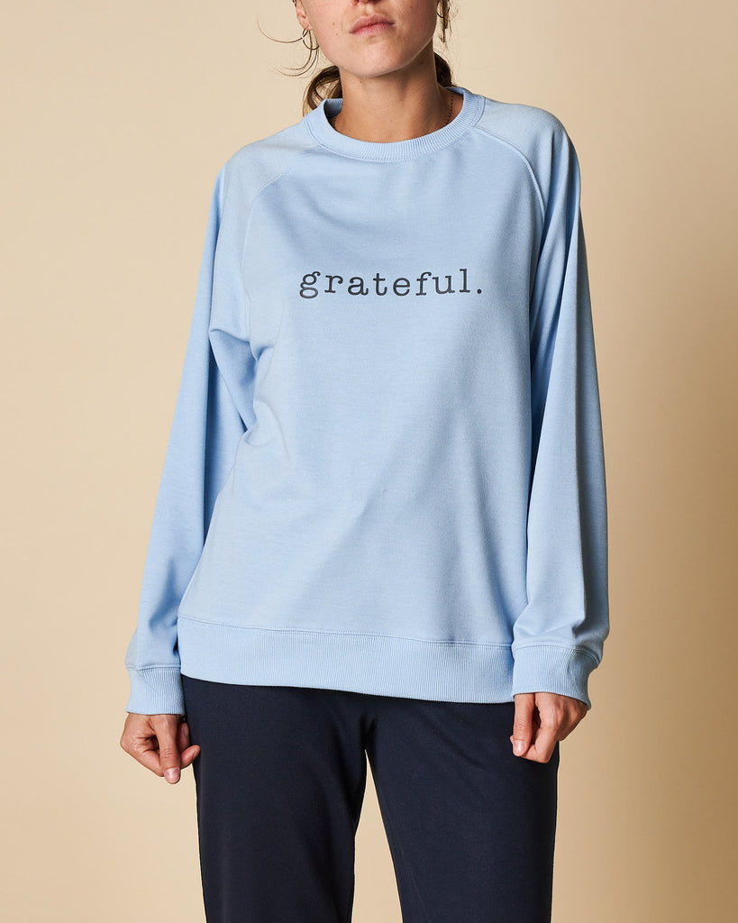Printed Raglan Sweat Top - Grateful