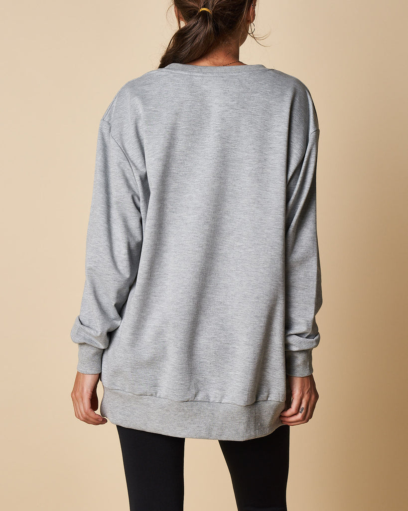 Felted Printed Long Sweat Top
