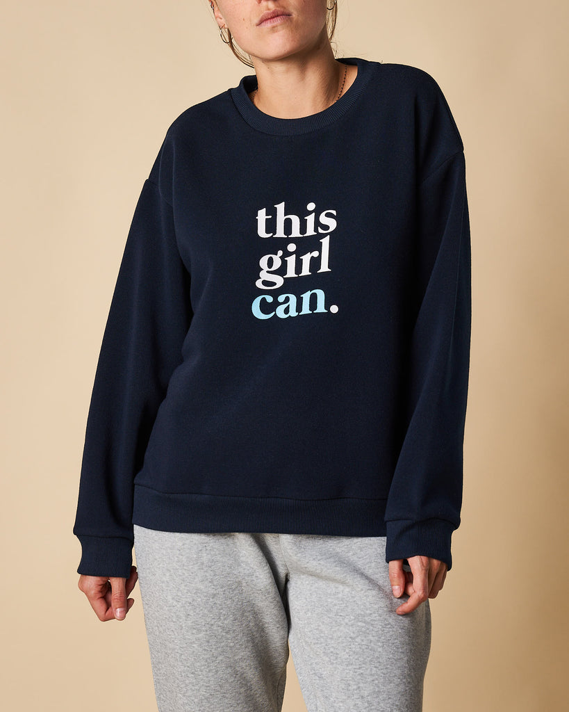 Printed Crew Neck Sweat - This Girl Can