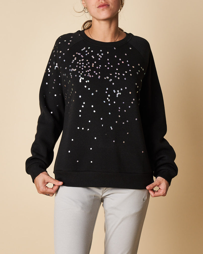 Printed Reglan Sleeve Swear Top - Black