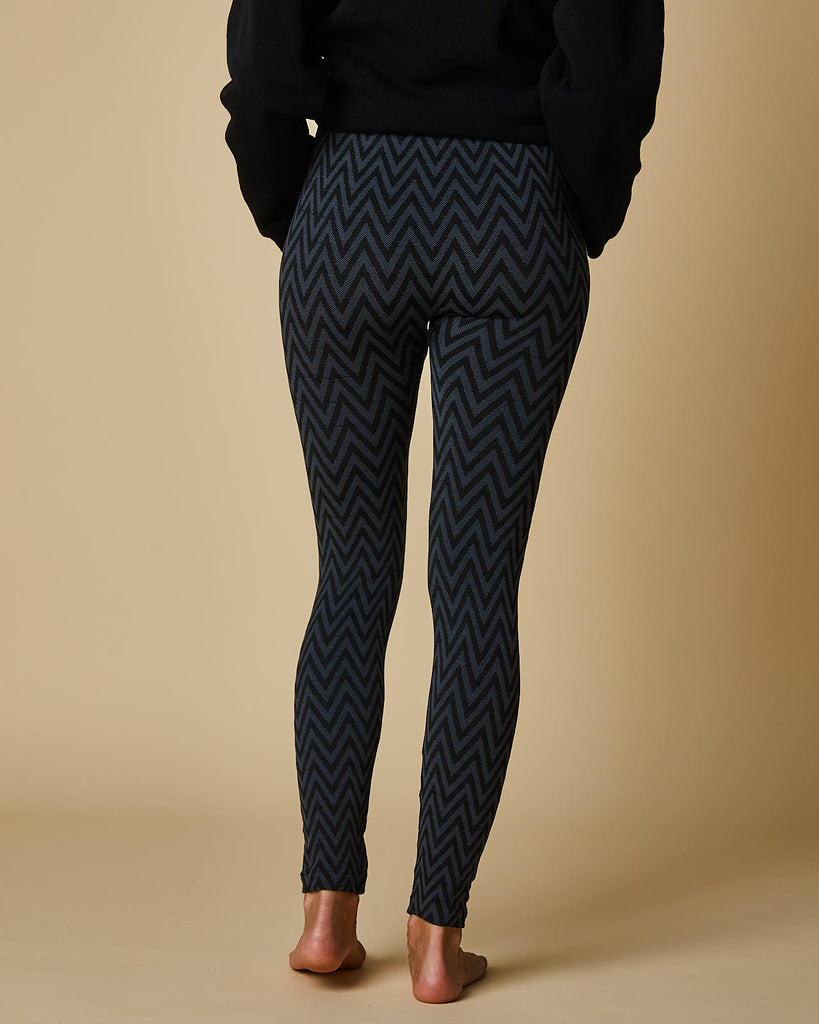 Jacquard Plush Leggings Zig Zag