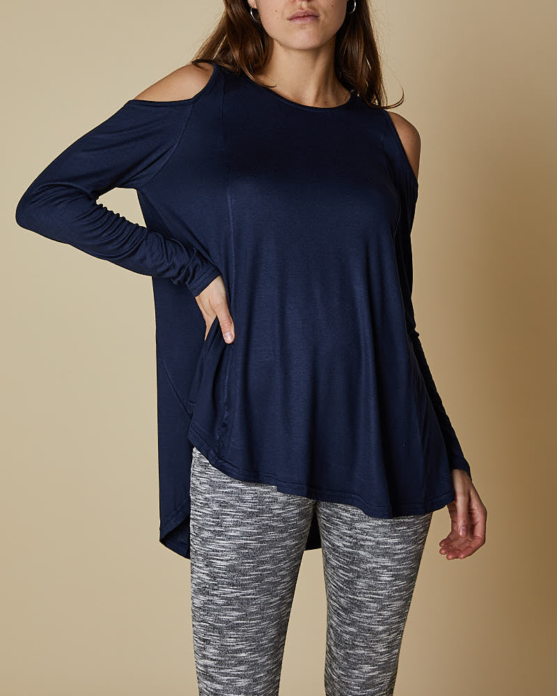 Long Sleeve Exposed Shoulder Swing Top