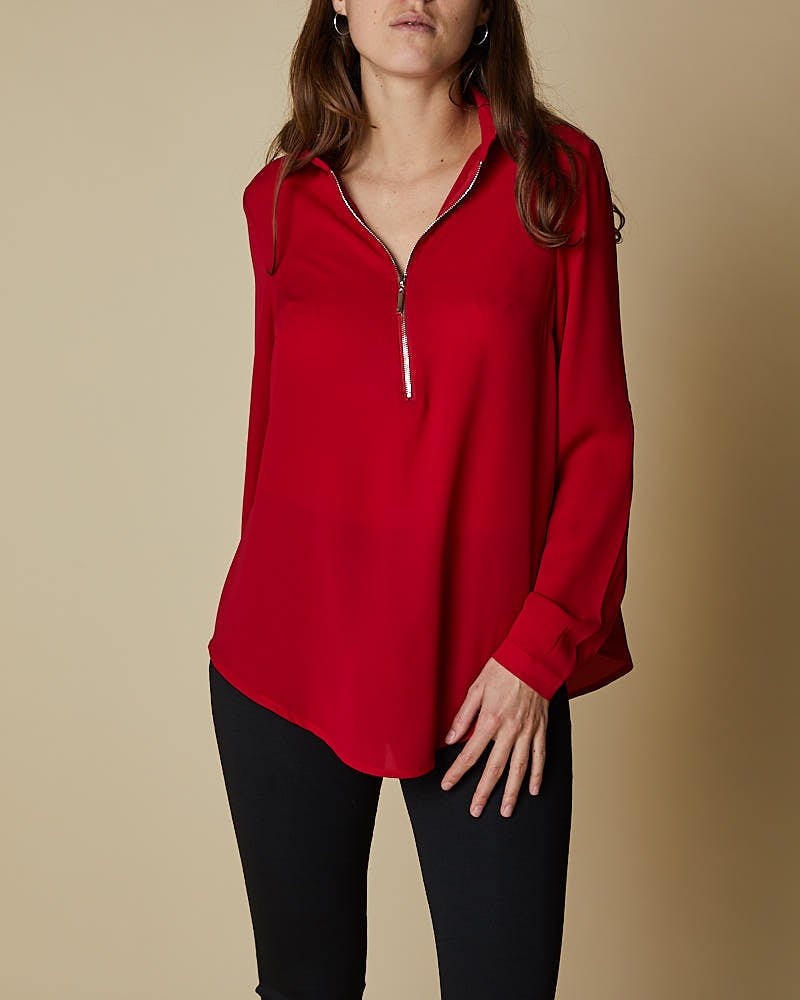 Half Zip & Roll Up Sleeve Shirt - Scarlett