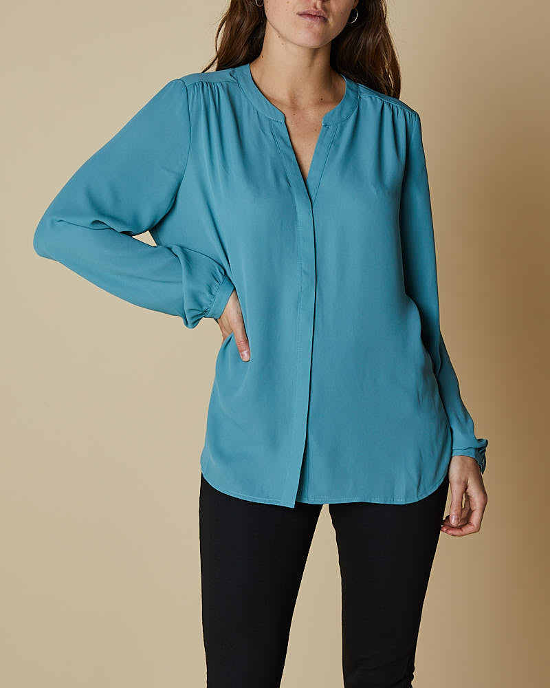 Pin Tuck Button Through Shirt - Blue
