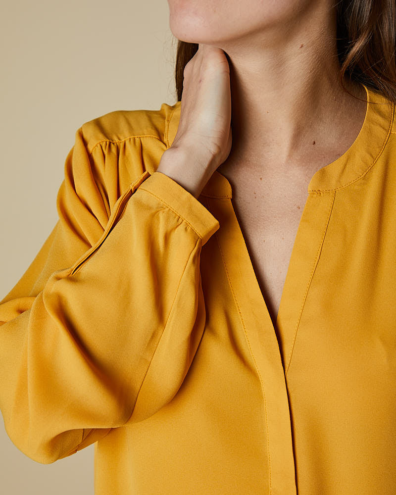 Pin Tuck Button Through Shirt - Mustard