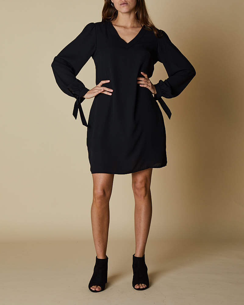 V Neck Front Dress with Tie Sleeves - Black