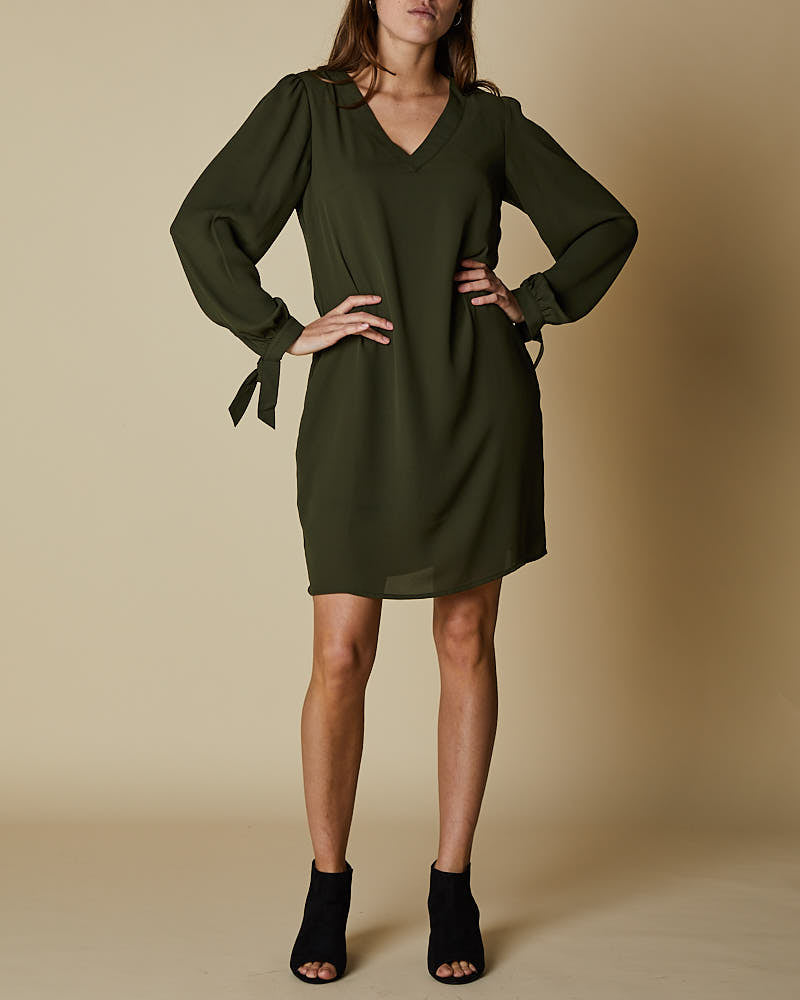 V Neck Front Dress with Tie Sleeves - Forest
