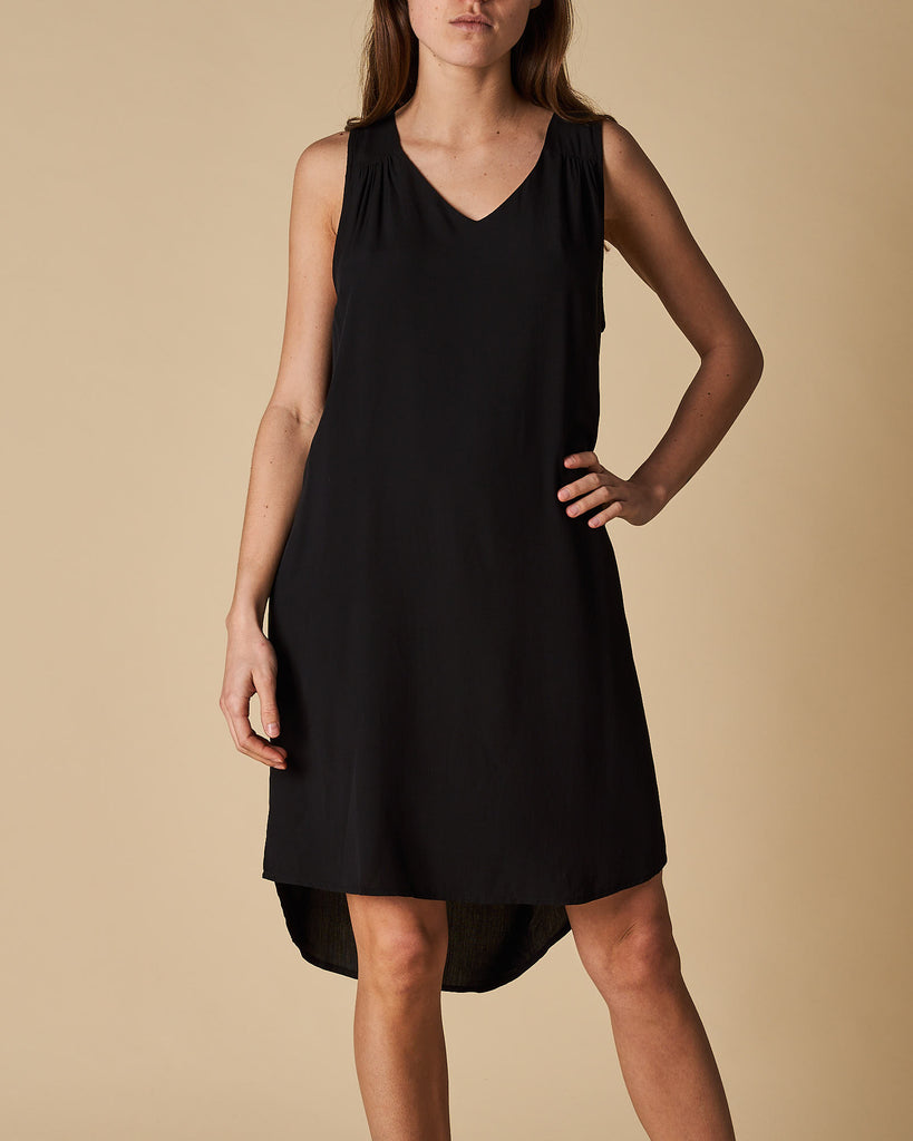 V-Neck Keyhole Dress - Black