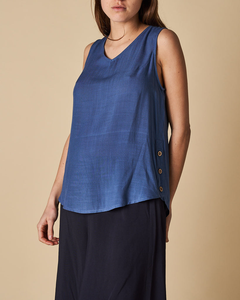 Side Seam Button Trim Tank Top - Denim