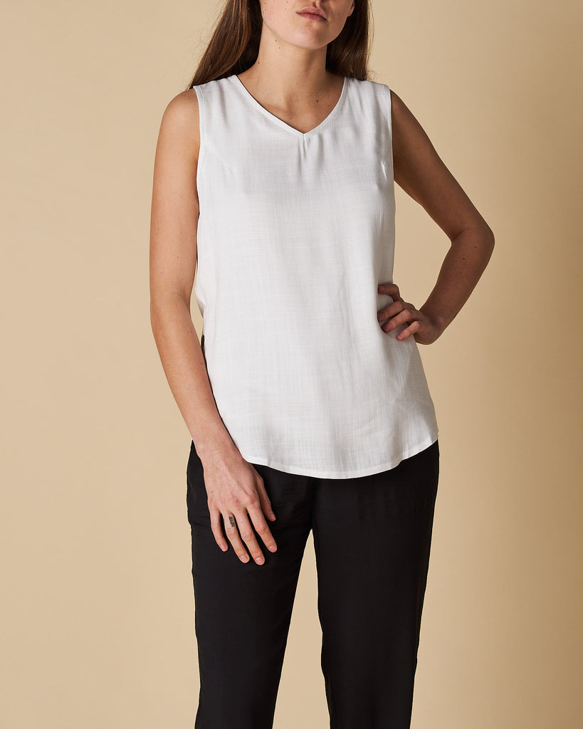 Side Seam Button Trim Tank Top - White
