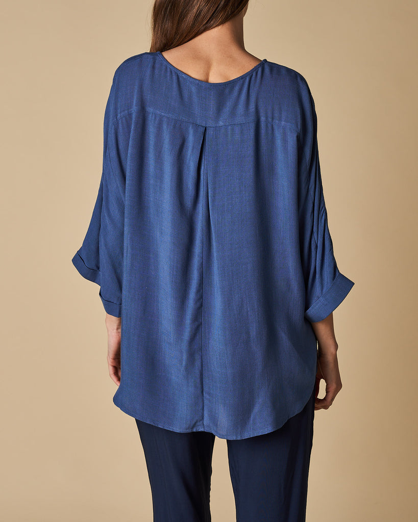 Side Seam Button Trim Batwing Sleeve Top - Denim