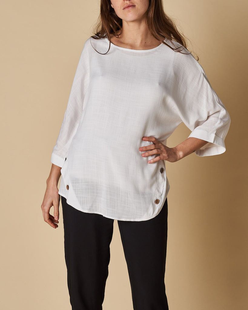 Side Seam Button Trim Batwing Sleeve Top - White