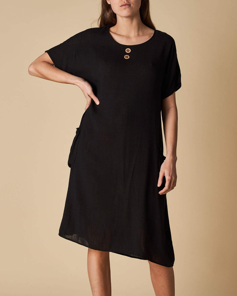 2 Pocket Dress - Black