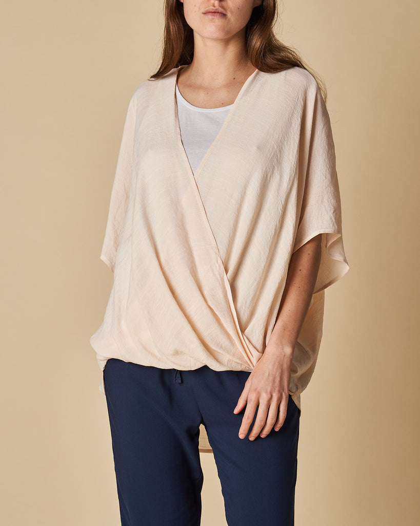 Cross Drape Shirt - Beige
