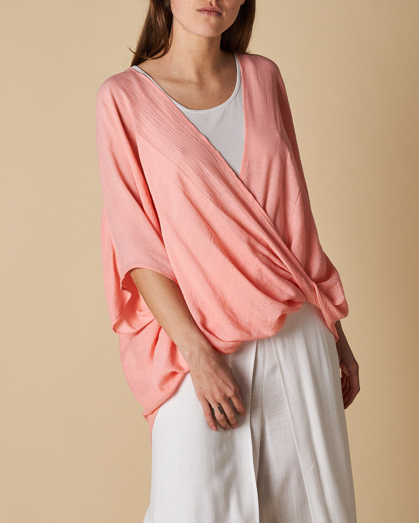 Cross Drape Shirt - Coral Pink
