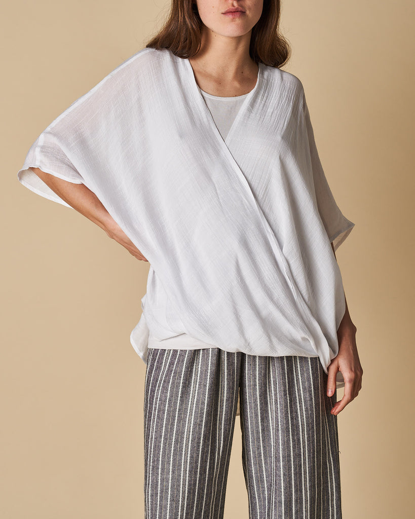 Cross Drape Shirt - White