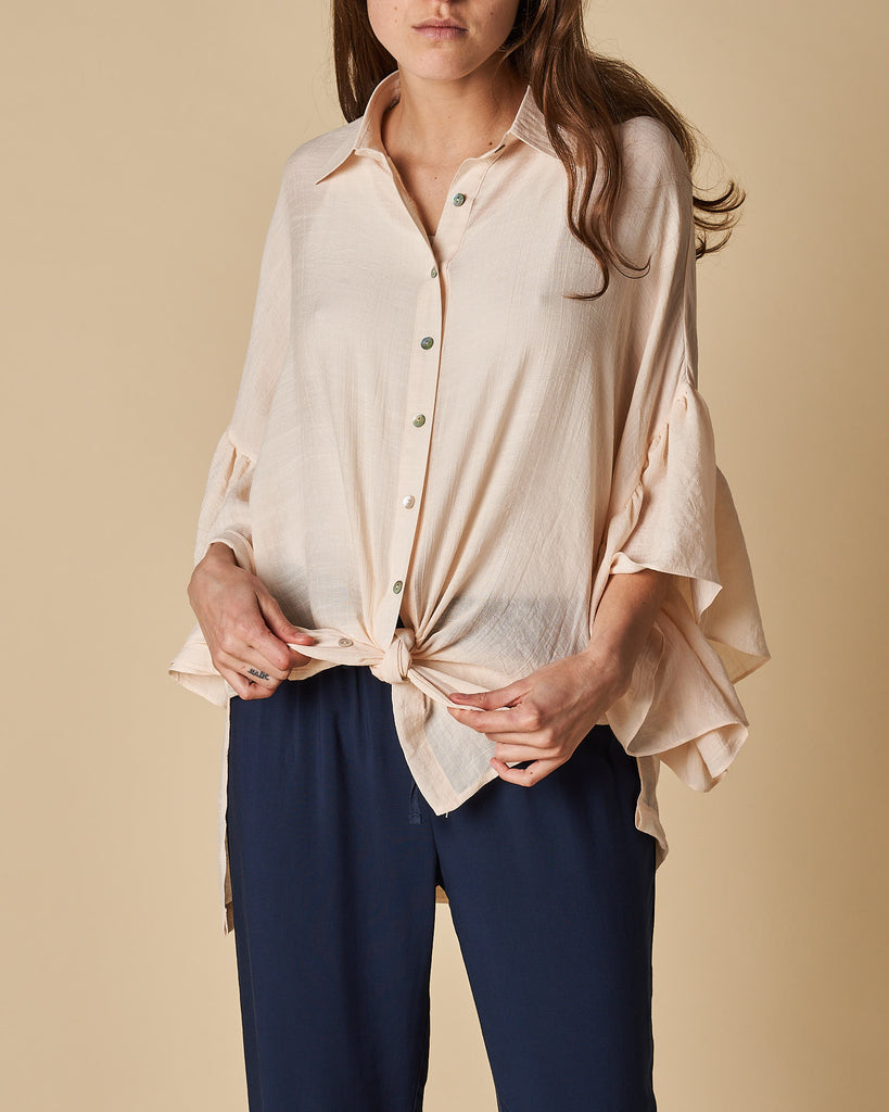 Frill Sleeve Shirt Button - Beige
