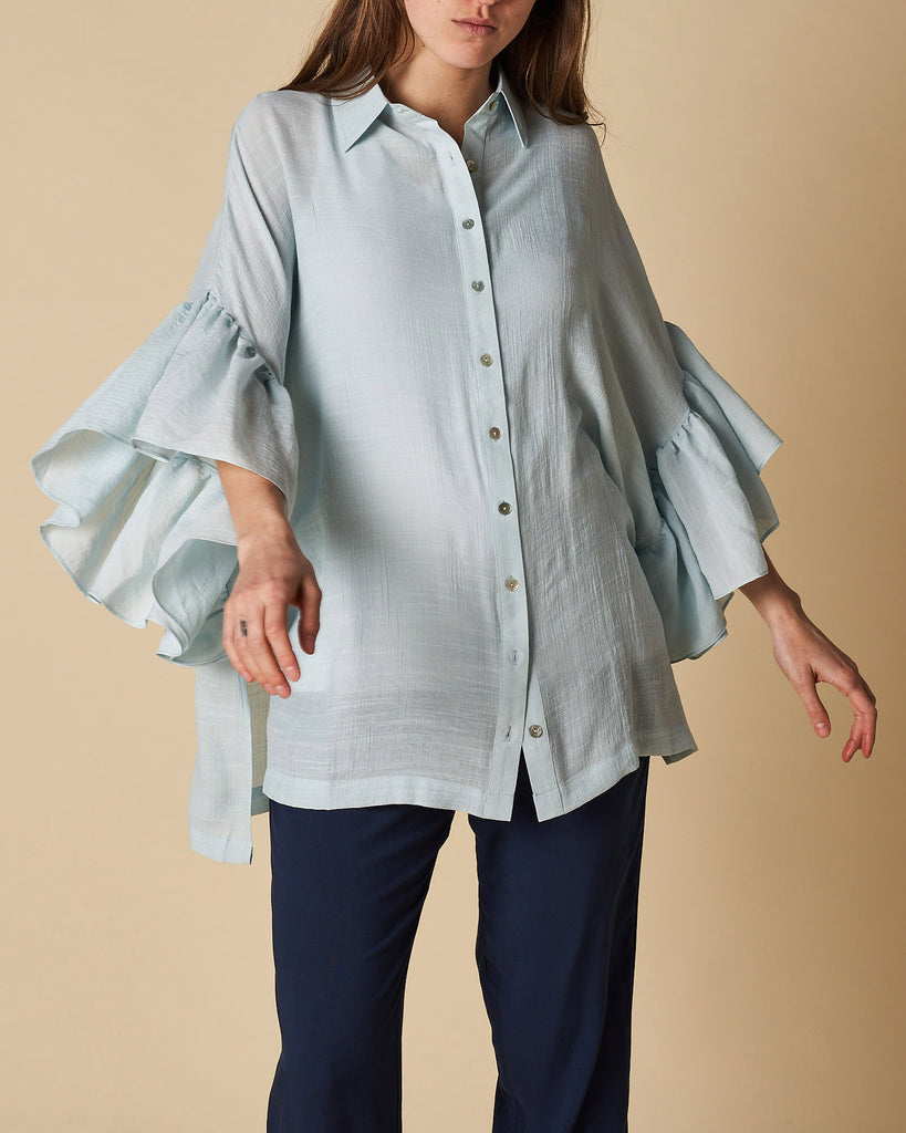 Frill Sleeve Shirt Button - Classic Mint