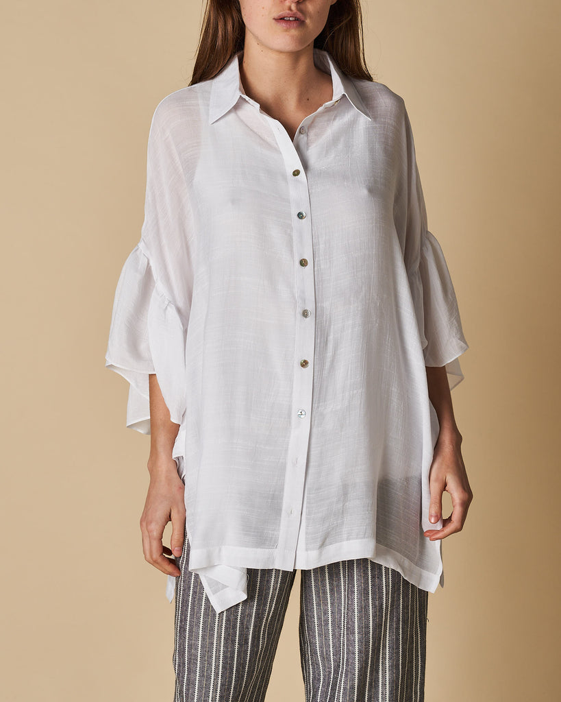 Frill Sleeve Shirt Button - White