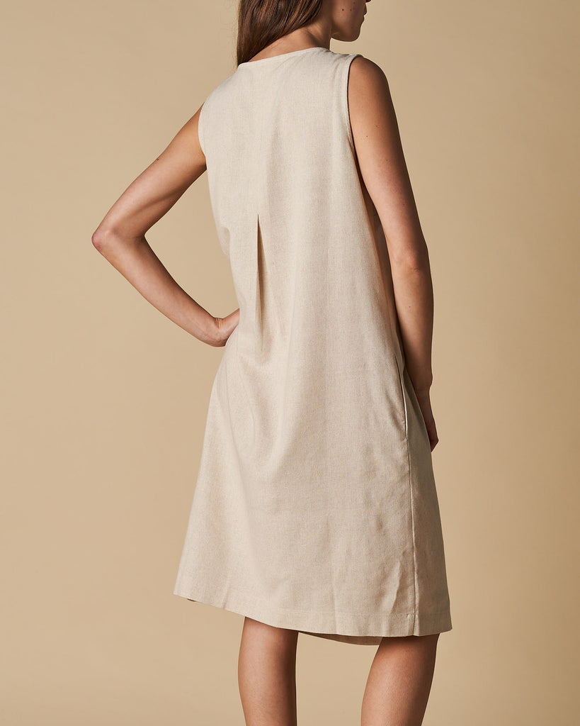 V-Neck Centre Pleated Shift Dress