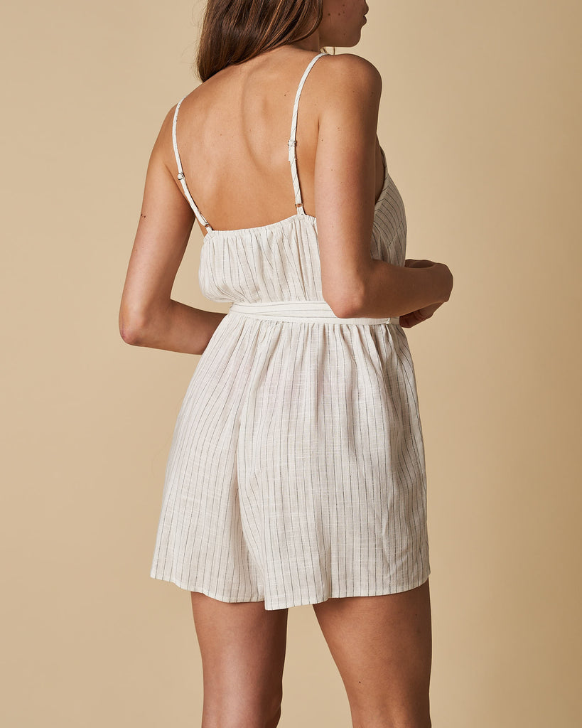 Shoestring Short Jumpsuit - White This Stripes