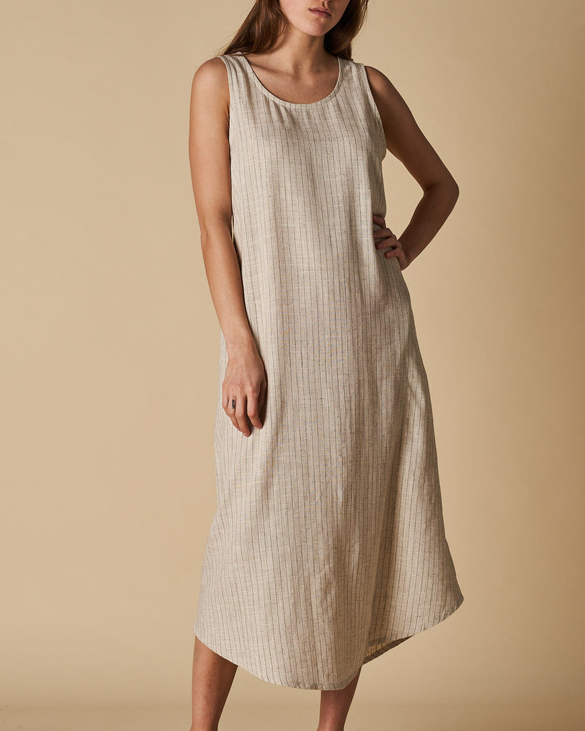 Maxi Tank Dress - Natural Thin Stripe