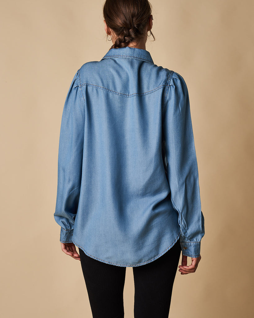 Tencel Shirt with Pleat Sleeve Detail