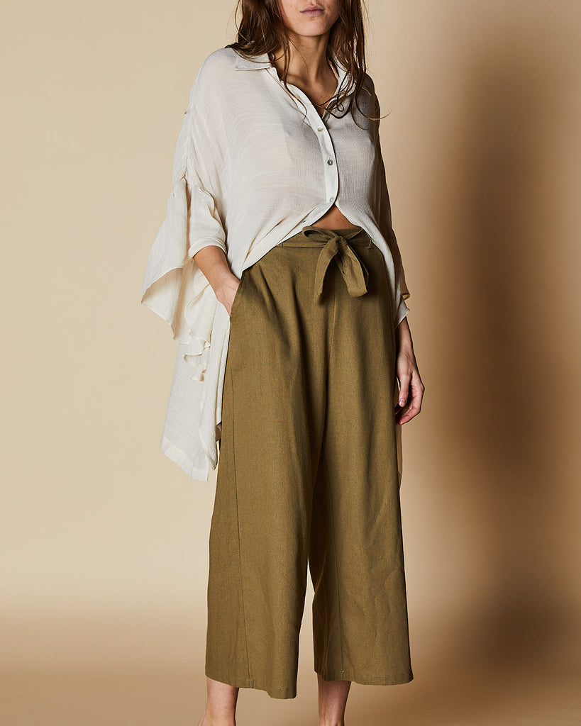 Cherry Lane | Pants with Tie Waist | Khaki