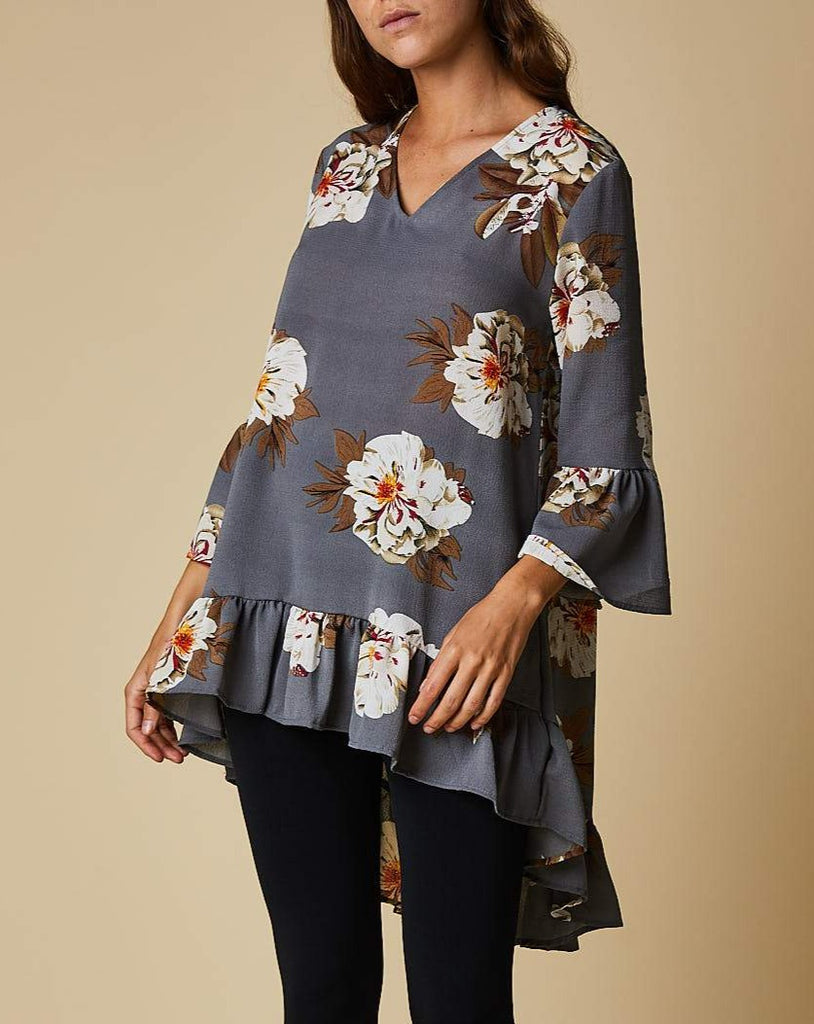 V neck frill sleeve top
