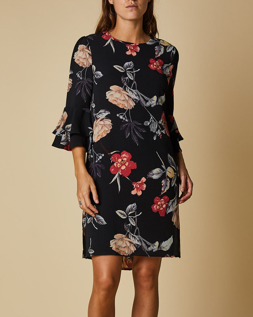 Frill Sleeve Dress with Side Slits