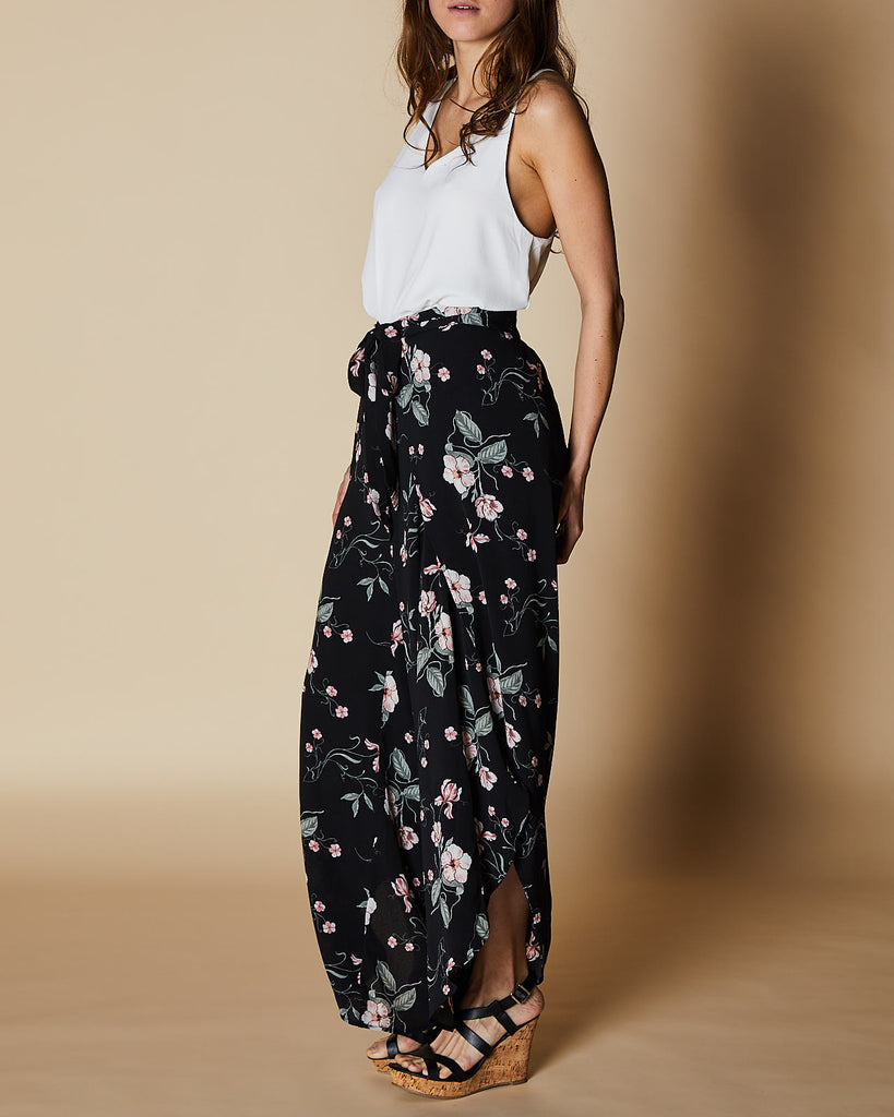 Cherry Lane | Wrap Pants | Black Floral