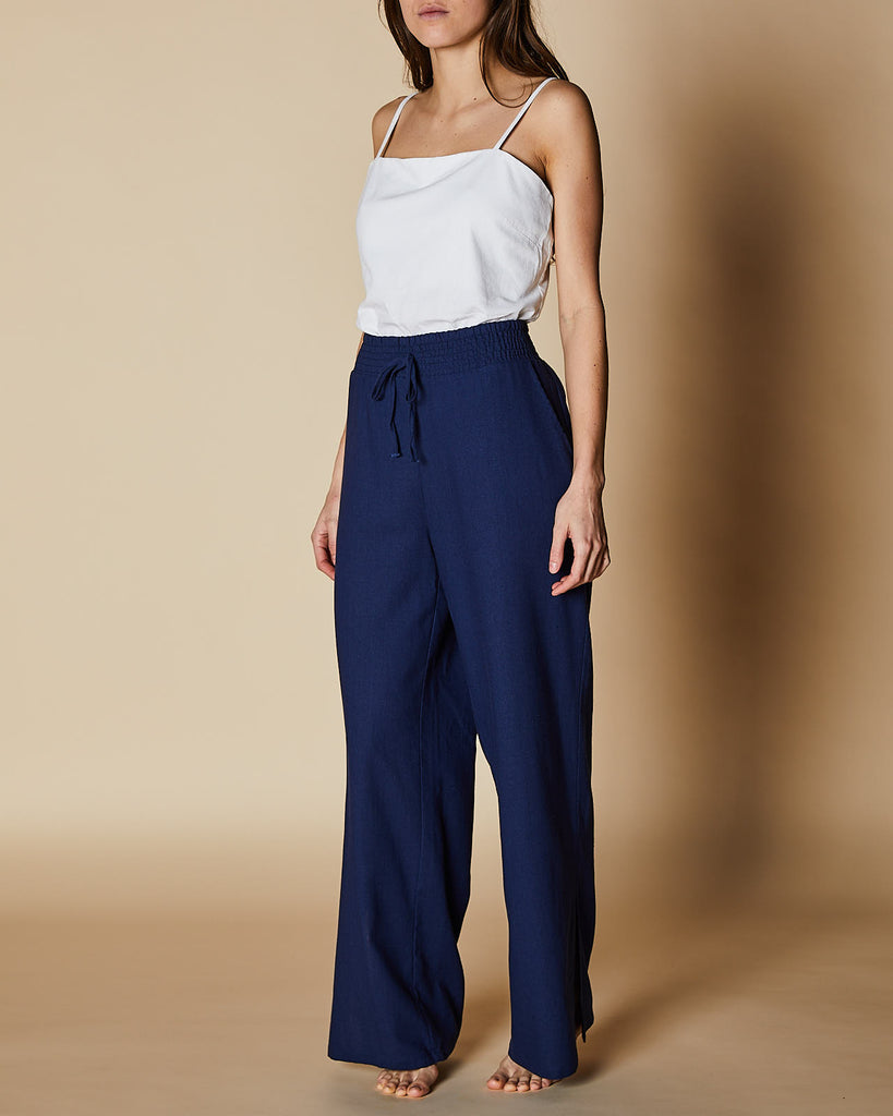Cherry Lane | Shirred Waist Pants | Navy