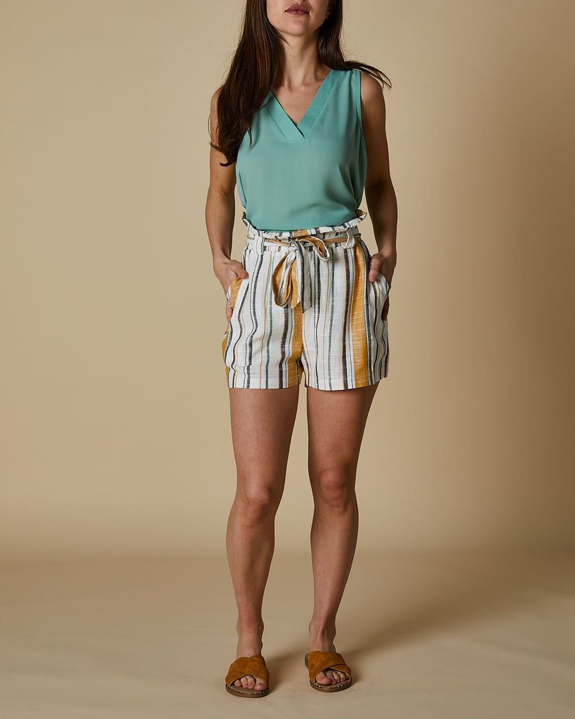 Cherry Lane | Tie Front Paperbag Shorts | Mustard